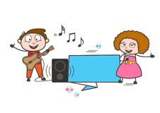 Cartoon Male and Female Pop-Singers with Ad Banner Vector Stock Photos