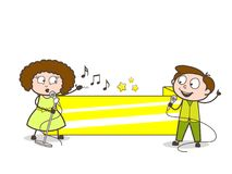 Cartoon Male and Female Singer with Blank Banner Vector Stock Images