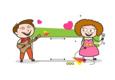 Cartoon Male and Female Singer with Blank Info Banner Vector Stock Images