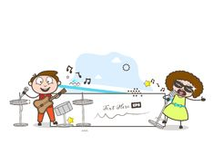 Cartoon Male and Female Singer Singing in Concert Vector Royalty Free Stock Photography