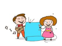 Cartoon Male and Female Singers with Parchment Banner Vector. Design Royalty Free Stock Photography