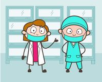 Cartoon Male and Female Surgeon Introducing Each Other Vector Illustration Stock Photos
