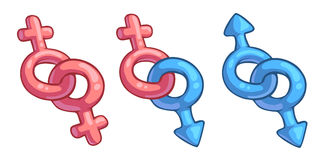 Cartoon male and female symbols combination Stock Images