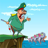 Cartoon male General fishing commanded the fish. On the lake Stock Photos
