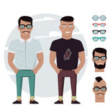 Cartoon male for graphic design, Web site, social media, user interface, mobile app. Man character set accessories, body parts, su. Man character set accessories Stock Photo