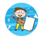 Cartoon Male Guitarist Showing a Blank Banner Vector. Design Royalty Free Stock Photos