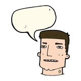 Cartoon male head with speech bubble Stock Photography
