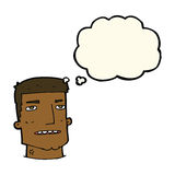 Cartoon male head with thought bubble Royalty Free Stock Photos