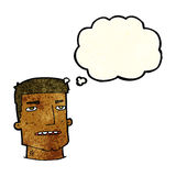 Cartoon male head with thought bubble Royalty Free Stock Images