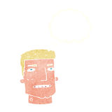 Cartoon male head with thought bubble Stock Photo