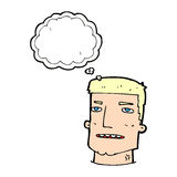 Cartoon male head with thought bubble Royalty Free Stock Photography