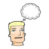 Cartoon male head with thought bubble Stock Photos