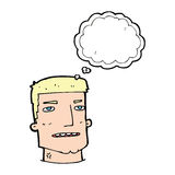Cartoon male head with thought bubble Stock Image