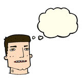 Cartoon male head with thought bubble Stock Images