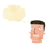 Cartoon male head with thought bubble Royalty Free Stock Image