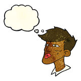 Cartoon male model guy with thought bubble Stock Images