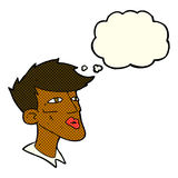 Cartoon male model guy with thought bubble Stock Photography