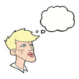 Cartoon male model guy with thought bubble Royalty Free Stock Images