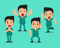 Cartoon male nurse character poses set Royalty Free Stock Images