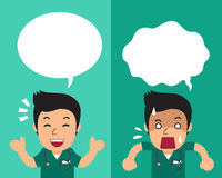 Cartoon male nurse expressing different emotions with speech bubbles. For design Royalty Free Stock Image