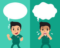 Cartoon male nurse expressing different emotions with speech bubbles. For design Stock Photo