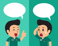 Cartoon a male nurse expressing different emotions with speech bubbles. For design Stock Photo