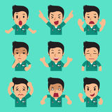 Cartoon male nurse faces showing different emotions. For design Stock Photo
