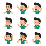Cartoon male nurse faces showing different emotions set. For design Stock Photography