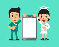 Cartoon male nurse and female nurse with big smartphone. For design Stock Images