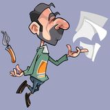 Cartoon male poet with sheets and pen pen. Cartoon male poet with sheets and pen Royalty Free Stock Photo