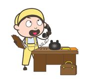 Cartoon Male Receptionist Calling with Customer on Phone Vector Illustration Royalty Free Stock Image