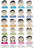 Cartoon Male Set_eps. Illustration of cartoon male icon with different hairs style and speech boxes on white background Stock Images