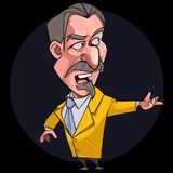 Cartoon male speaker the poet in a suit and tie. On a dark background Stock Images