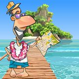 Cartoon male tourist standing with a map at the pier Royalty Free Stock Photos