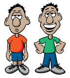Cartoon Males with Happy and Sad Expressions. Two Cartoon male characters posing with sad and happy expressions, bold clean colors, simple lines and available in Royalty Free Stock Image