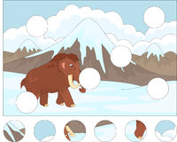 Cartoon mammoth on the background of a prehistoric nature. Compl Stock Photography