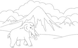 Cartoon mammoth on the background of a prehistoric nature. Educa Stock Images