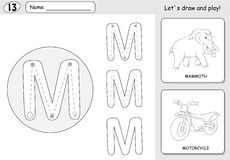 Cartoon mammoth and motorcycle. Alphabet tracing worksheet: writ Royalty Free Stock Photography