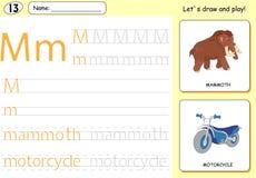 Cartoon mammoth and motorcycle. Alphabet tracing worksheet Stock Photo