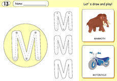 Cartoon mammoth and motorcycle. Alphabet tracing worksheet Royalty Free Stock Image