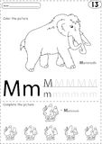 Cartoon mammoth and mushroom. Alphabet tracing worksheet: writin Stock Photos