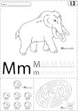 Cartoon mammoth, mushroom and mouse. Alphabet tracing worksheet: Royalty Free Stock Images