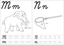 Cartoon mammoth and net. Royalty Free Stock Photos