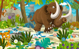 Cartoon mammoth - prehistoric scene vector illustration