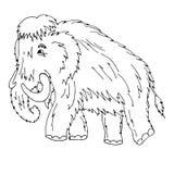 Cartoon mammoth standing on ice age. Vector illustration. Isolat. Ed on white background stock illustration