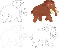 Cartoon mammoth. Vector illustration. Dot to dot game for kids Stock Photos