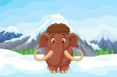 Cartoon mamouth in the ice mountain Royalty Free Stock Image
