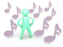 Cartoon man and 16th notes Royalty Free Stock Images