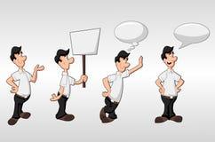 Cartoon man. Wearing white shirt talking with speech balloon and holding billboard Royalty Free Stock Photos