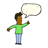 cartoon man advising caution with speech bubble Royalty Free Stock Photos